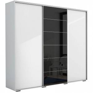Skriňa Alicja A28 250 Zrkadlo Biely/čierna  lacobel