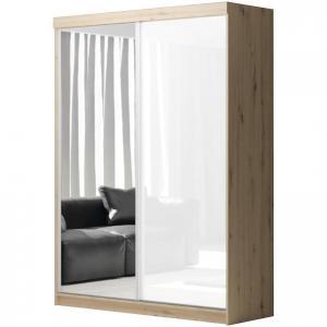 Skriňa Asturia dub artisan/biely lesk +zrkadlo