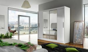 ANKON MEBLE Bega 2 2D šatníková skriňa s posuvnými dverami biela