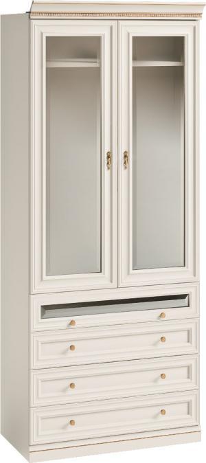 TARANKO Verona V2D-04 rustikálna šatníková skriňa biela patyna