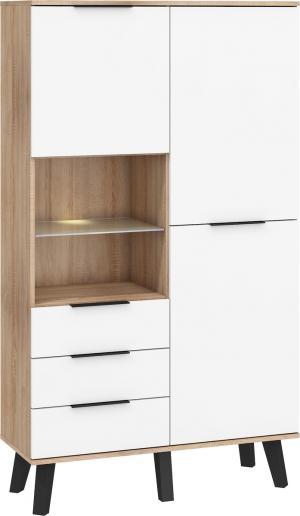 MEBLOCROSS Sven SVN-13 2D šatníková skriňa sonoma svetlá / biely lesk