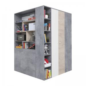 Meblar  Šatníková skriňa Sigma SI1 L/P Farba: beton/biela/dub