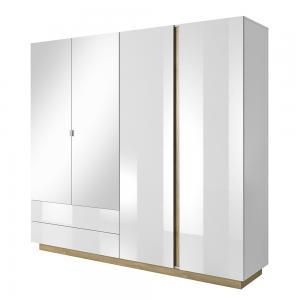 TEMPO KONDELA City 220 štvordverová šatníková skriňa so zrkadlom biela / dub grandson / biely lesk