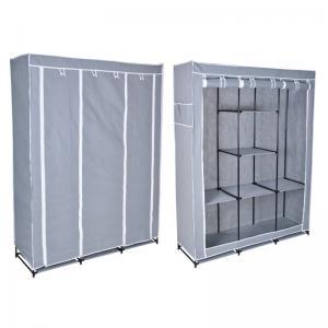 Textilní šatní skříň Soňa s 8 policemi - šedá